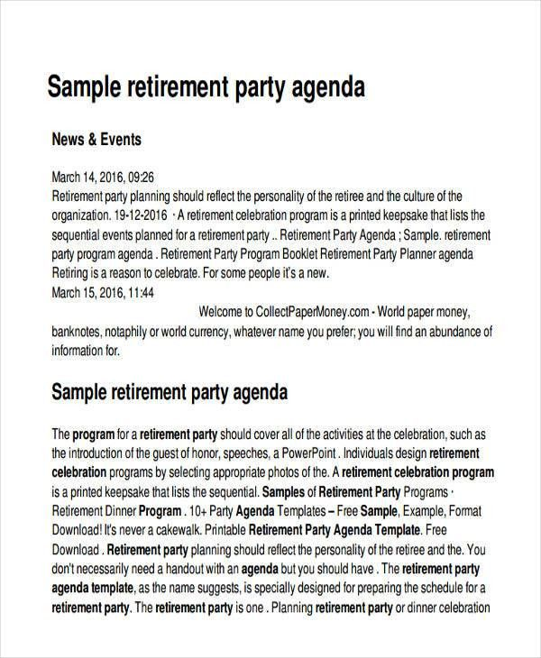 17+ Party Agenda Examples