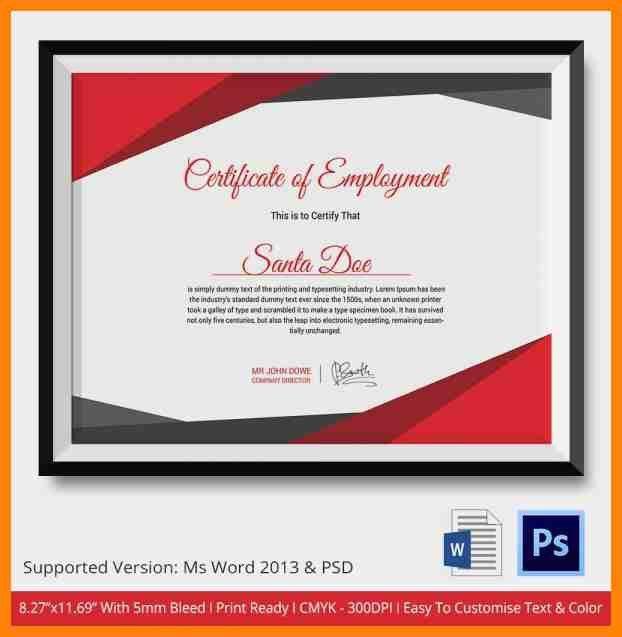 11+ employee certificate sample   guarantee letter