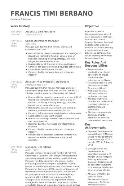 Associate Vice President Resume samples - VisualCV resume samples ...
