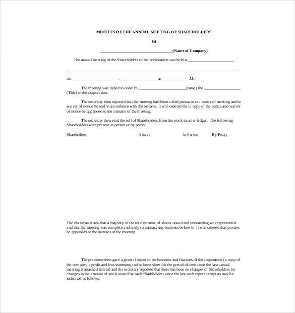 Business Meeting Minutes Template Word] Meeting Minutes Template