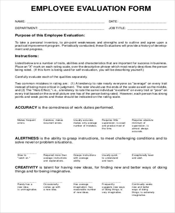 Sample Employee Evaluation Form in PDF - 9+ Examples in PDF