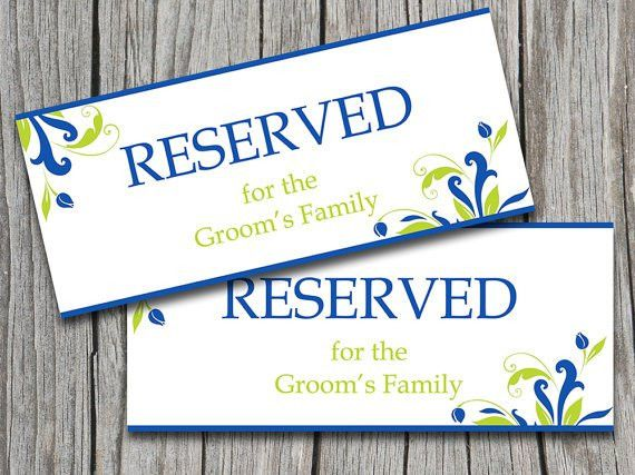 "Wedding Reserved Sign Template | Royal Blue Lime Green ""Florence ..."