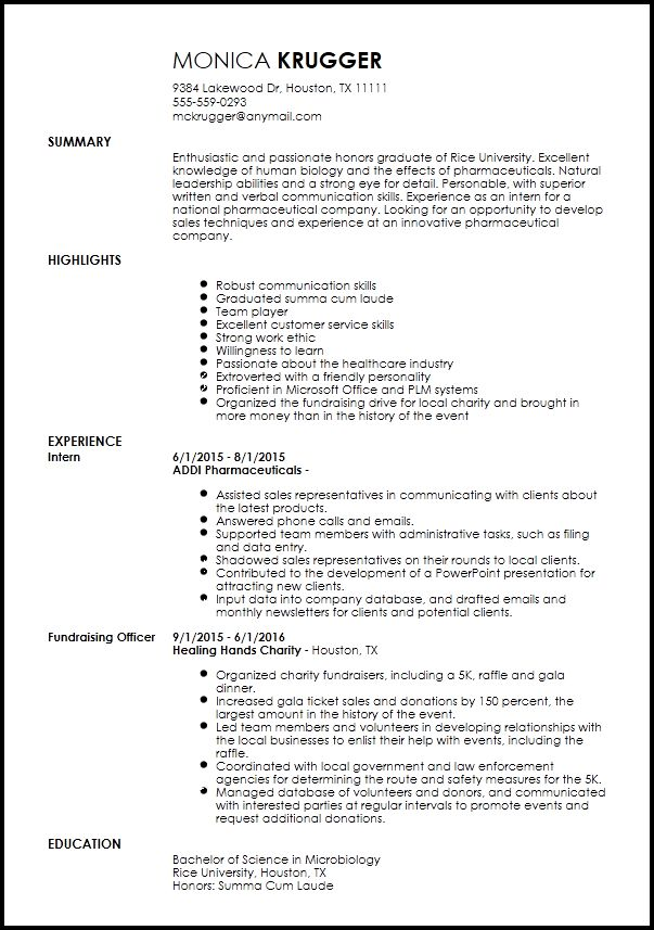 Free Entry Level Medical Sales Representative Resume Template ...