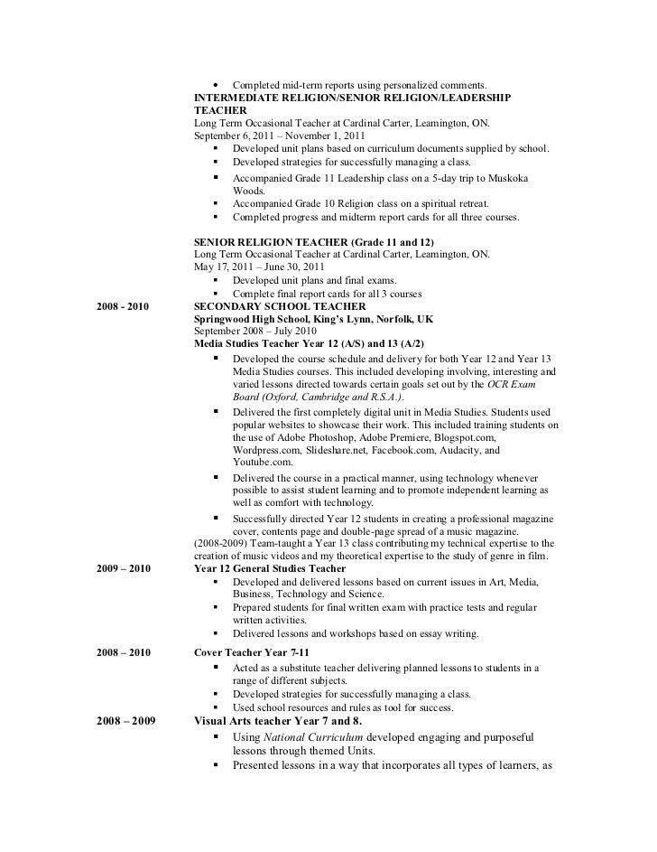 Sample Resume For Religion Teacher - Templates