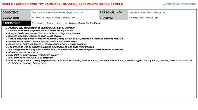 Laborer Poultry Farm Resume Sample
