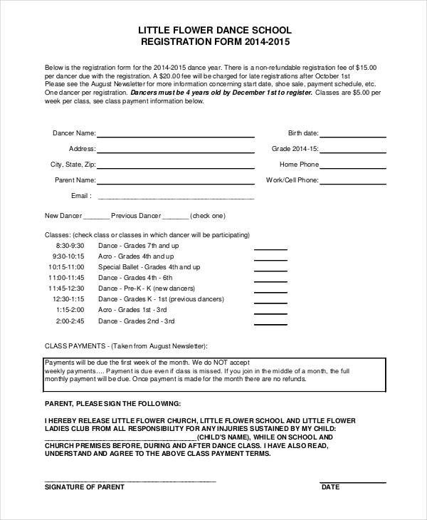 Dance School Registration Form Template Free | Business Plan Template