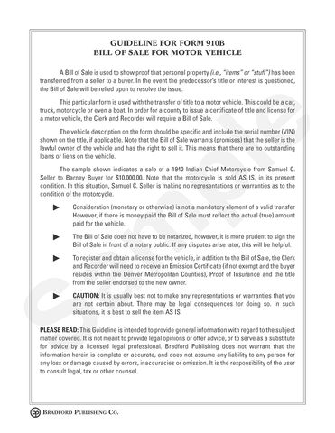 Bills of Sale – Bradford Publishing