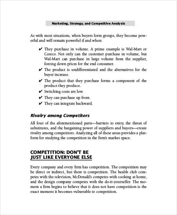 Sample Competitive Market Analysis - 7+ Documents in PDF, Word