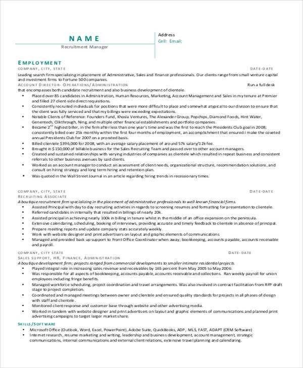 Recruiting Manager Resume Template. Recruiter Resume Objective Hr ...