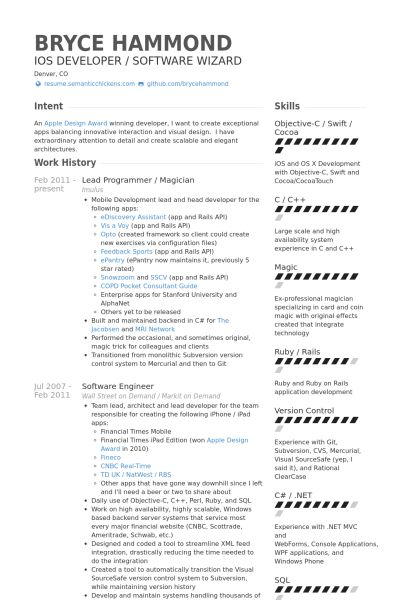 Programmer Resume samples - VisualCV resume samples database