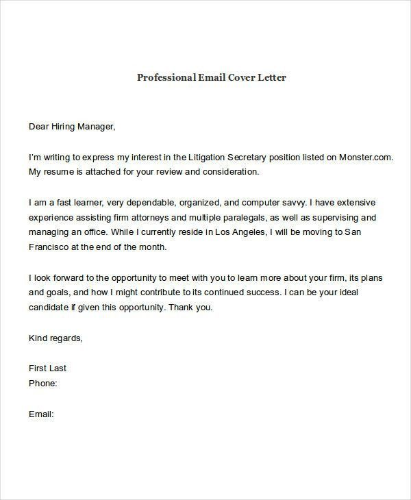21+ Email Cover Letter Examples