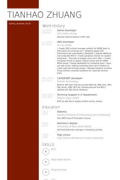 Senior Developer Resume samples - VisualCV resume samples database