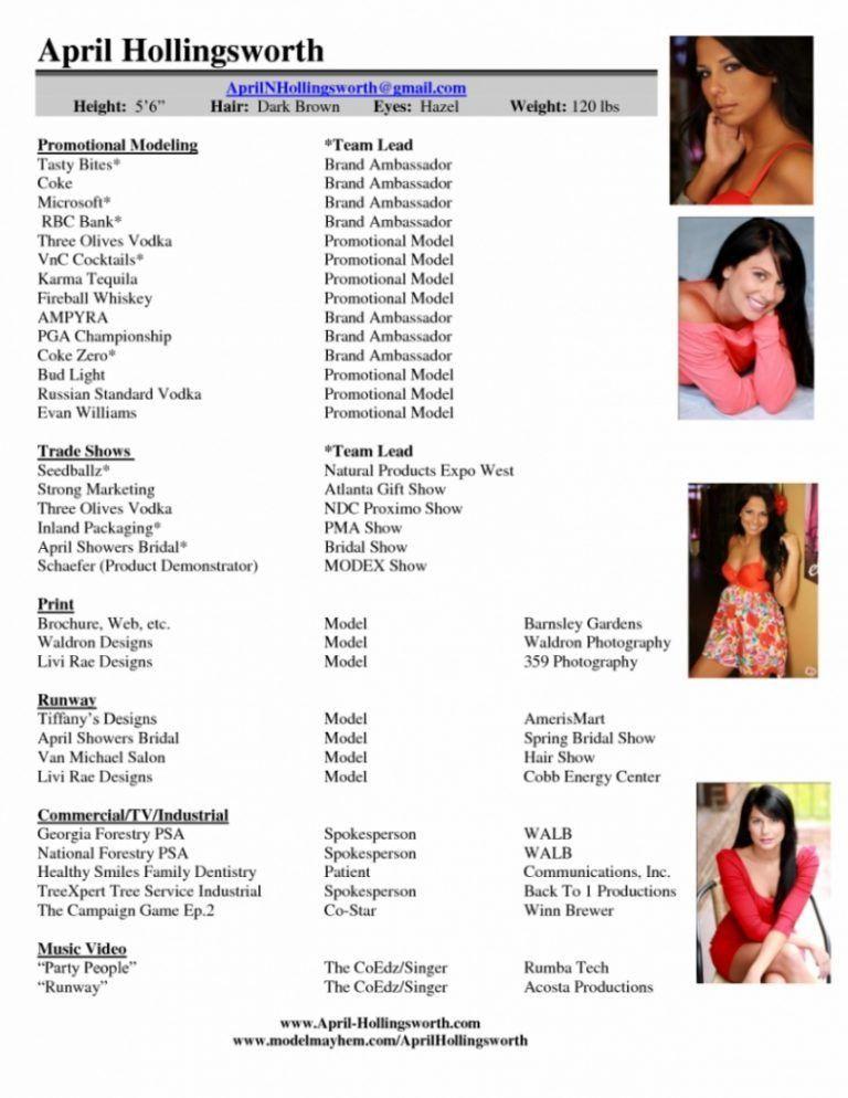 Enjoyable Modeling Resume Template 2 Sample Model Resume Template ...