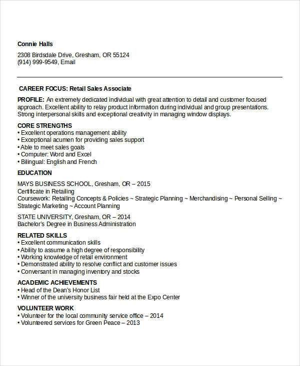 Sample Retail Resume. Retail Sales Associate Resume Example Sample ...