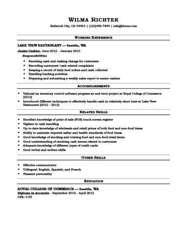 Cashier Resume [How To Write + 16 Examples]