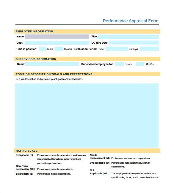 Sample Employee Performance Appraisal Form - 5+ Free Documents in PDF