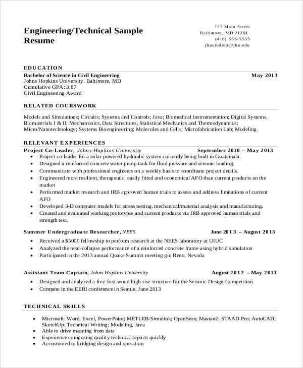 7+ Engineering Resume Template   Free Word, PDF Document Downloads .  Resume Example Engineer