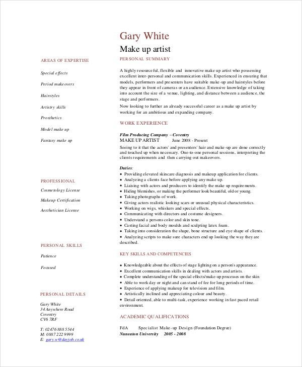 Makeup Artist Resume - 5+ Free PDF, Word Documents Download | Free ...