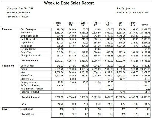 daily sales report - Template
