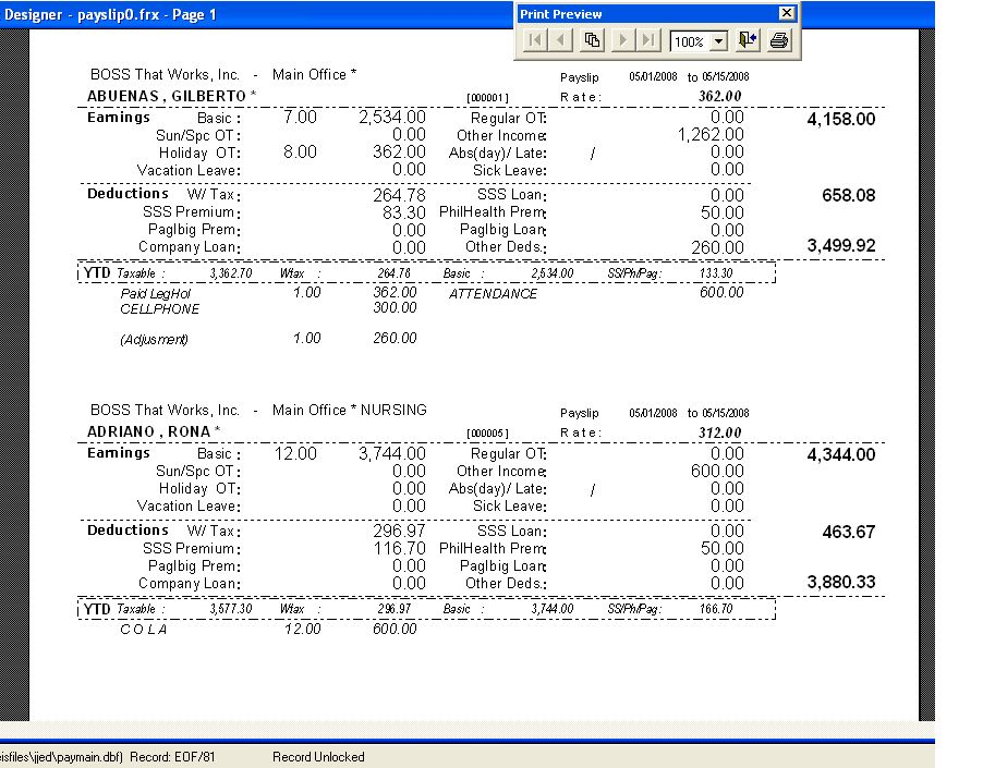 Payslip printable format the numbers