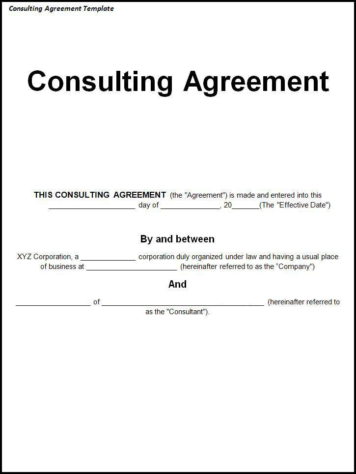 Consulting Agreement Template - Word Excel PDF