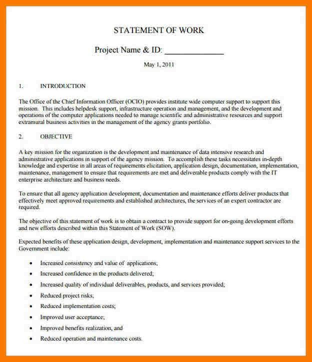 8+ example statement of work | park-attendant