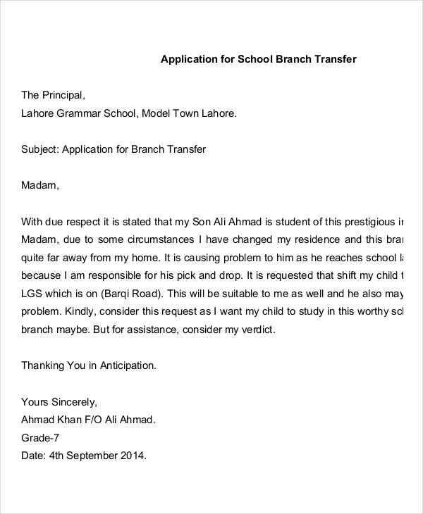 Sample Request Letter For School Admission Application Letter ...