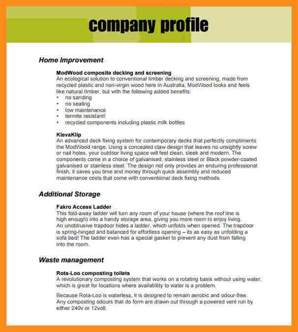 8+ sample company profile | resume setups