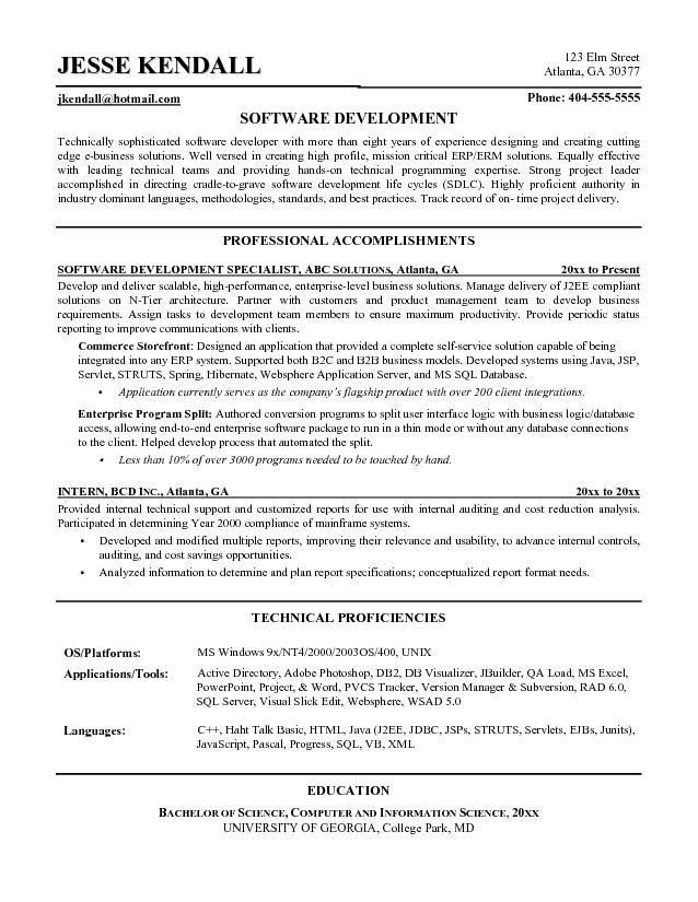 Software Engineer Resume Sample | Free Resumes Tips
