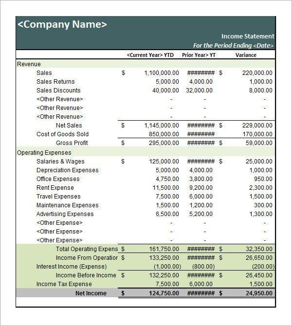Income Statement Template | ossaba.com