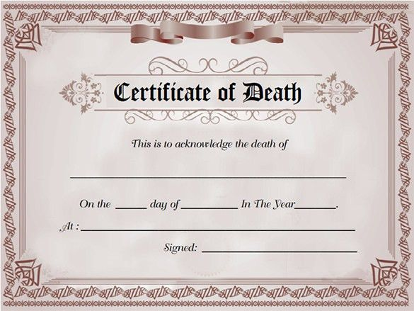 7+ Death Certificate Templates – Free Word, PDF Documents Download ...