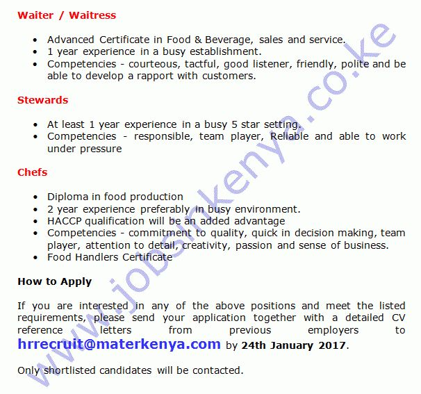 Mater Hospital Inventory Manager, Waiter / Waitress, Stewards and ...