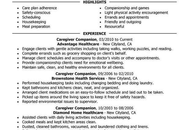 resume for caregiver resume cv cover letter. caregiver for elderly ...