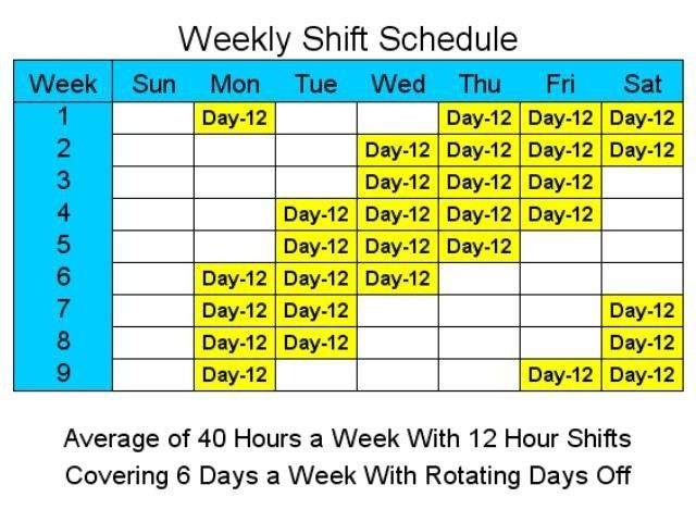 12 Hour Schedules for 6 Days a Week 2 Free Download