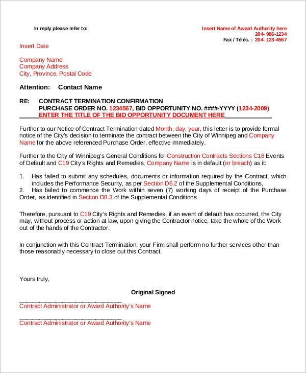 Sample Contract Termination Letter - 8+ Examples in Word, PDF