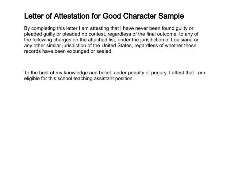 Letter of Attestation - Sample Letter of Attestation