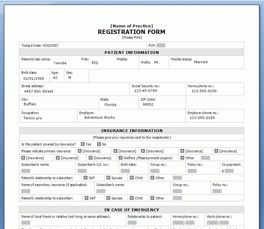 Printable Registration Form Templates - Word Excel Samples