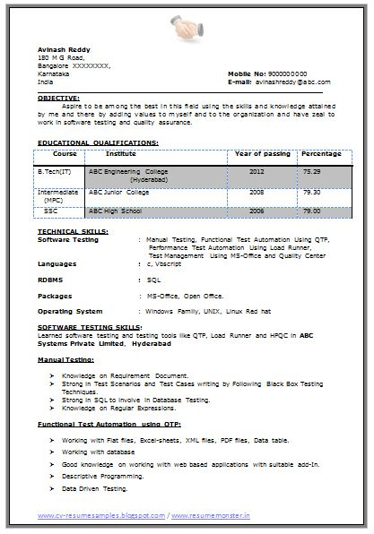B Tech Resume Fresher No Experience Free Download (1) | Career ...