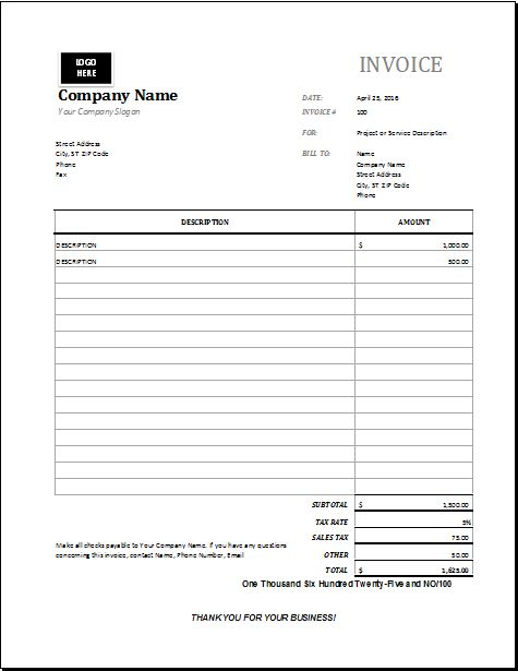 MS EXCEL Maintenance Invoice Template | EXCEL INVOICE TEMPLATES