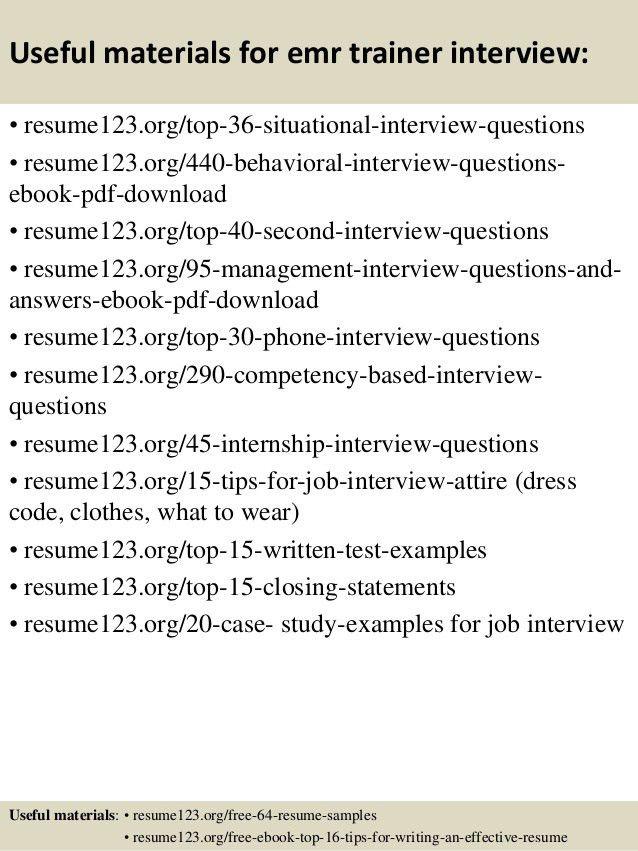 Top 8 emr trainer resume samples