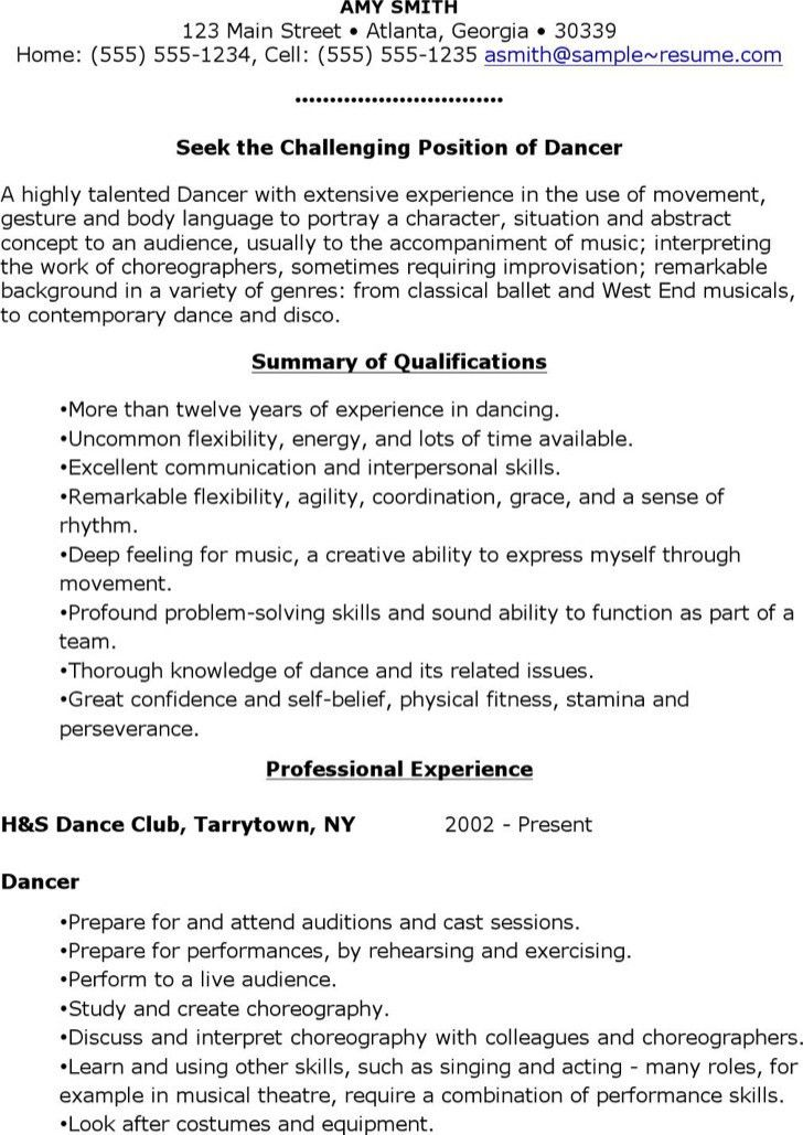 Dancer Resume Template. Musical Theatre Resume And Resume ...