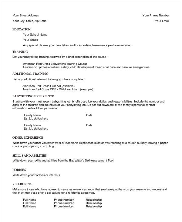 babysitter resume template 6 free word pdf documents download - Babysitter Resume Sample