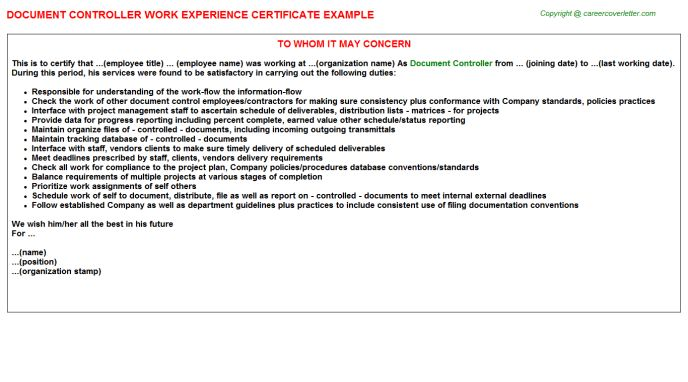 Document Controller Work Experience Letters