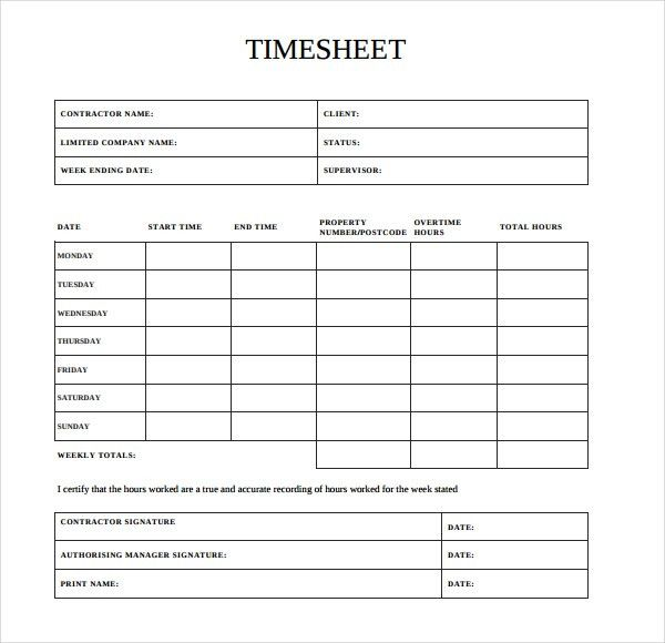 12+ Contractor Timesheet Templates – Free Sample, Example Format ...