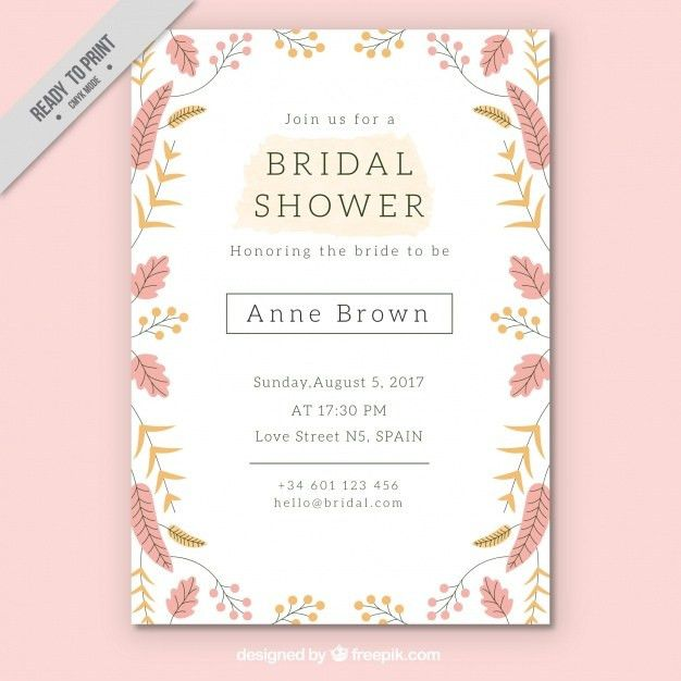 Pretty bridal shower invitation template with colored flowers ...