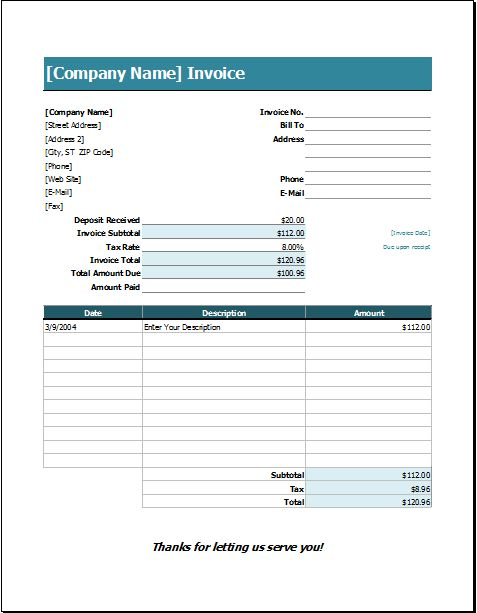 Wedding Services Invoice Template | EXCEL INVOICE TEMPLATES