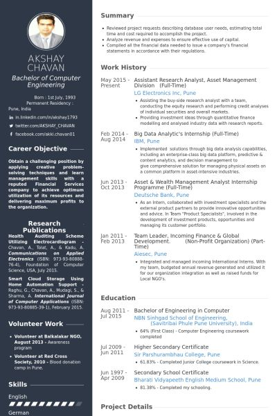 Research Resume samples - VisualCV resume samples database