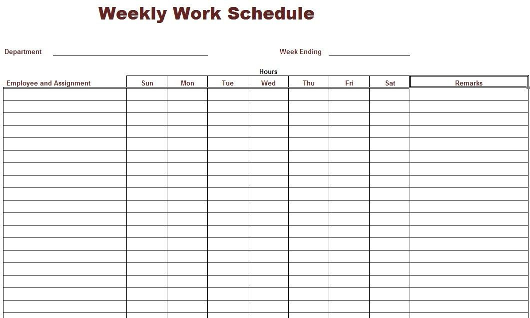 Work Schedule Template | cyberuse
