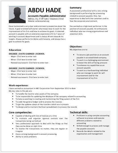 Accounts Payable Administrator Resume Contents, Layouts ...