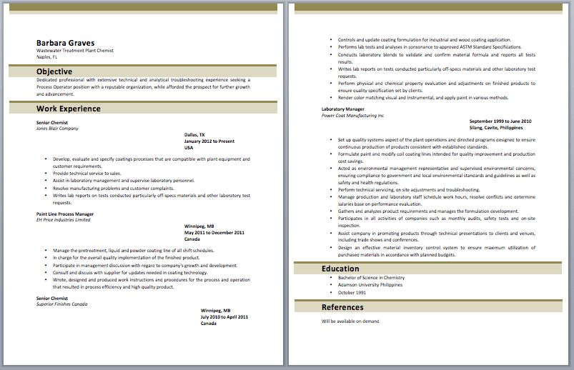 Amazing Sample Chemistry Resume Images - Best Resume Examples for ...